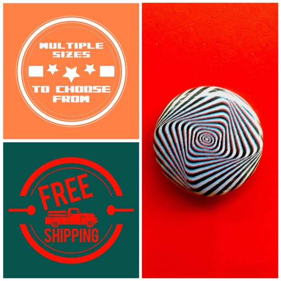 Spiraling Rectangle Optical Illusion Button Pin or Magnet, FREE SHIPPING