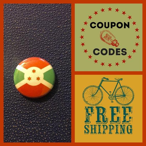 Burundi Flag Button Pin, FREE SHIPPING
