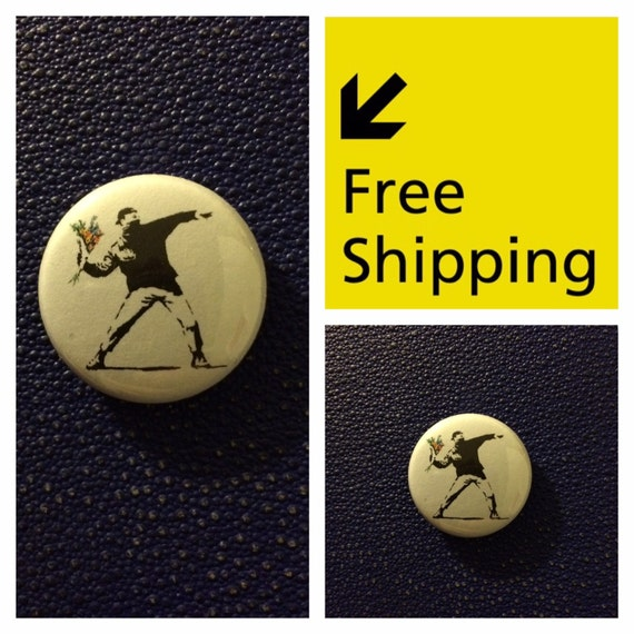 Banksy Graffiti Button Pin Badge, FREE SHIPPING