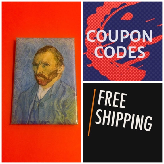 """Van Gogh Self Portrait 2x3"""" Button Pin or Magnet, FREE SHIPPING"""