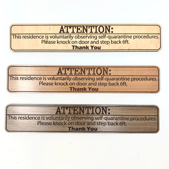 """COVID-19 Voluntary Self Quarantine Front Door Sign 11x2"""" Wood, FREE SHIPPING"""