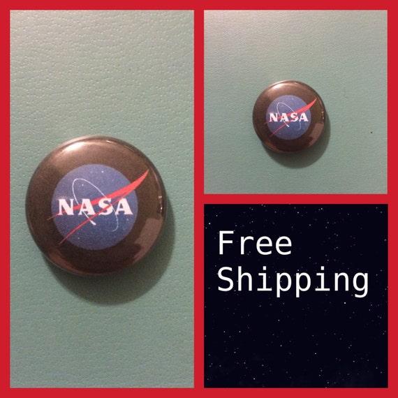 NASA Logo Button Pin, FREE SHIPPING