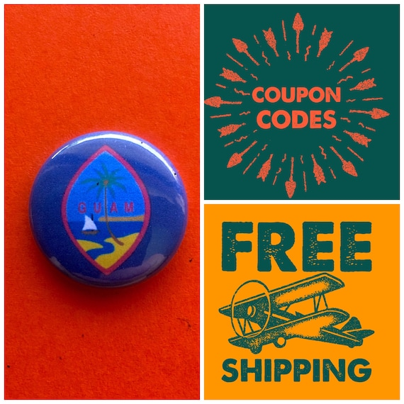Guam Island Flag Button Pin or Magnet, FREE SHIPPING