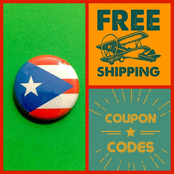Puerto Rico Flag Button Pin or Magnet, FREE SHIPPING