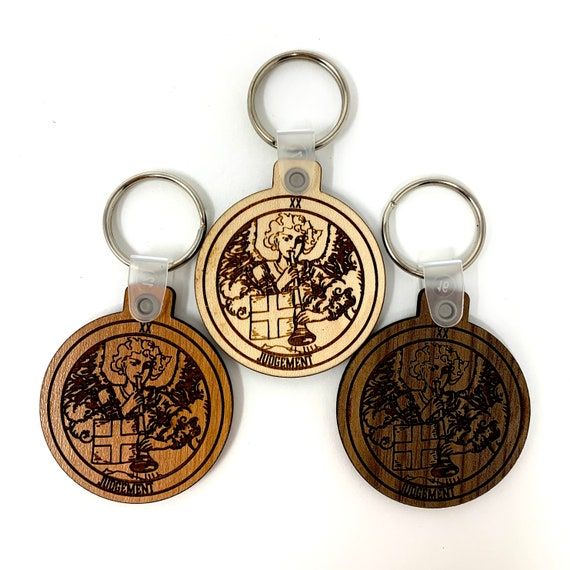 20 - Judgement - Tarot Deck Card Wood Key Chain w Key Ring, FREE SHIPPING