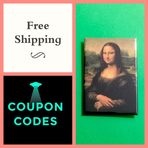 """Mona Lisa Painting 2x3"""" Button Pin or Magnet, FREE SHIPPING"""