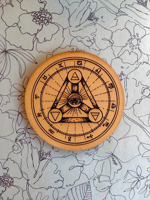 "Illuminati Mystical Symbol 3.5"" Drink Coasters Set, FREE SHIPPING"