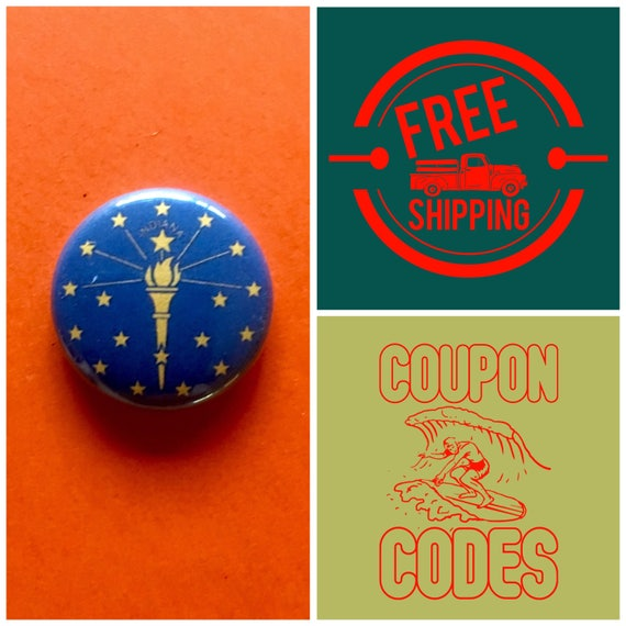 Indiana State Flag Button Pin or Magnet, FREE SHIPPING