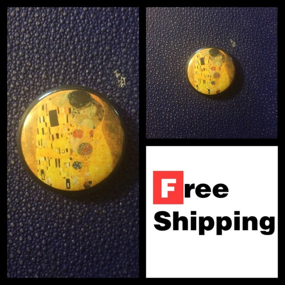 The Kiss, Gustav Klimt Painting Button Pin FREE SHIPPING