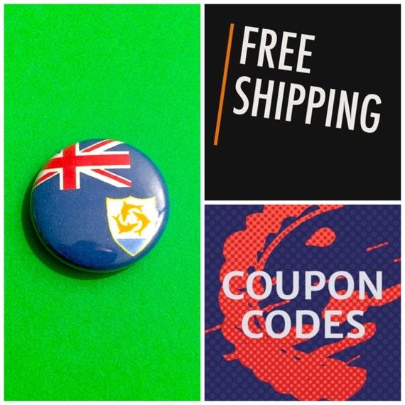 Anguilla Flag Button Pin, FREE SHIPPING