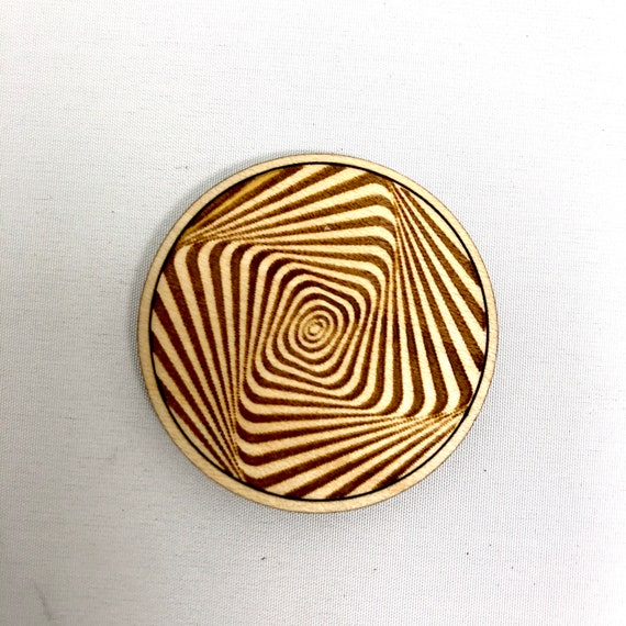 Wood Magnet - Spiral 3D Optical Illusion Design, FREE SHIPPING