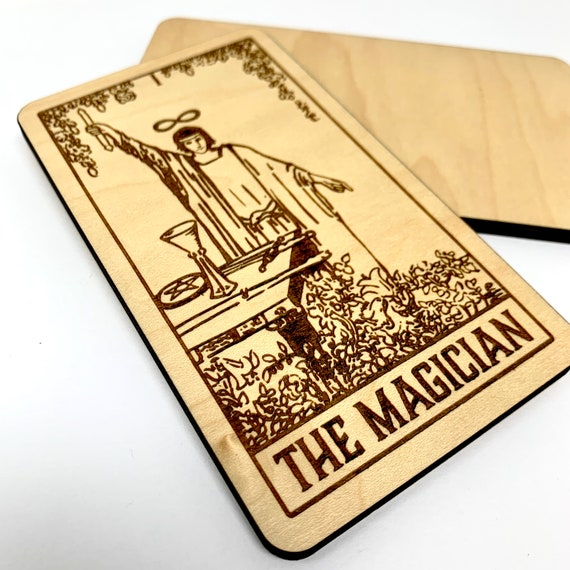 01 The Magician - Wood Tarot Card, Free Shipping