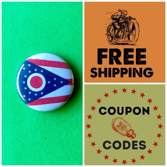 Ohio State Flag Button Pin or Magnet, FREE SHIPPING