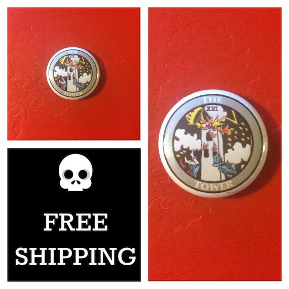 Tarot Card - The Tower Button Pin, FREE SHIPPING