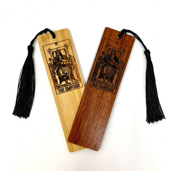 Wood Bookmark - Tarot 04 - The Emperor - Bookmarks Bamboo or Rosewood, Engraved Real Wood Gift for Students or Friend