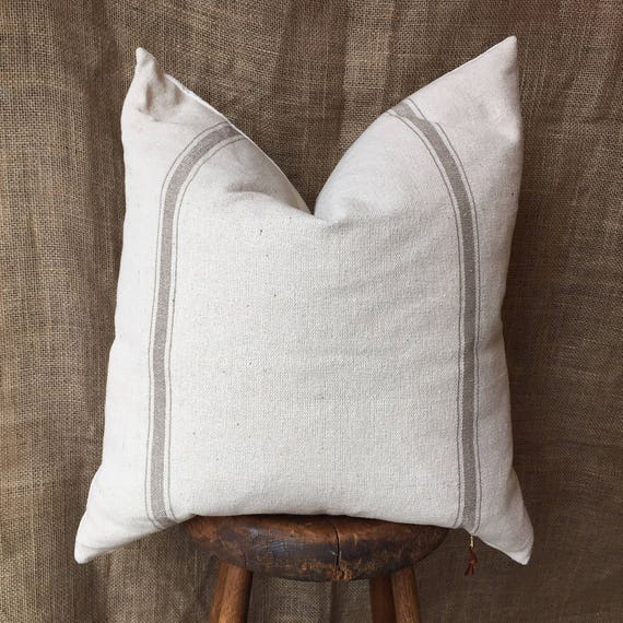 Grain Sack Pillow Cover Farmhouse Pillow Cover French Pillow Etsy Cool Grain Sack Pillow Covers