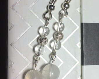 Healing Moonstone and Quartz Crystal Earrings with sterling silver orbs