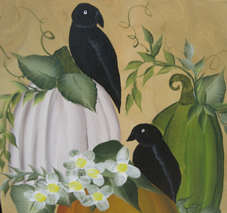 Crows And Pumpkins On Artist Canvas image 0