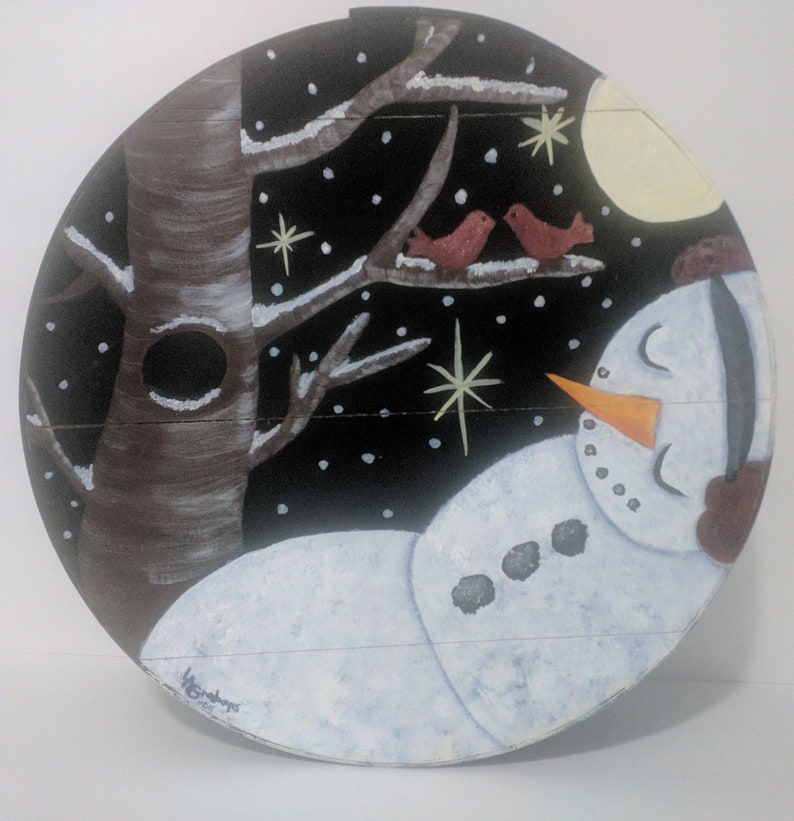 Sleeping Snowman Hand Painted Re Purposed Wood Cheese Box. image 0