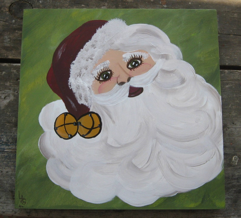 Santa Portrait On Wood Canvas image 0