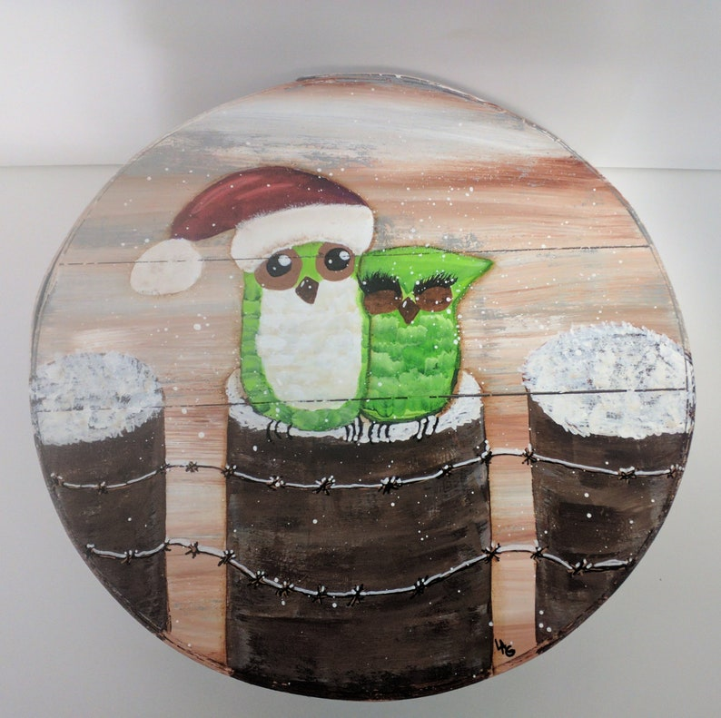 Christmas Owls Hand Painted Re Purposed Wood Cheese Box. Uses: image 0