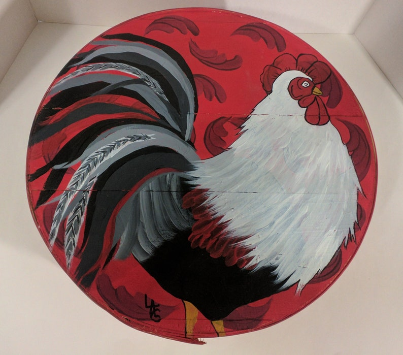 Rooster Hand Painted Re Purposed Wood Cheese Box. Uses: Gift image 0