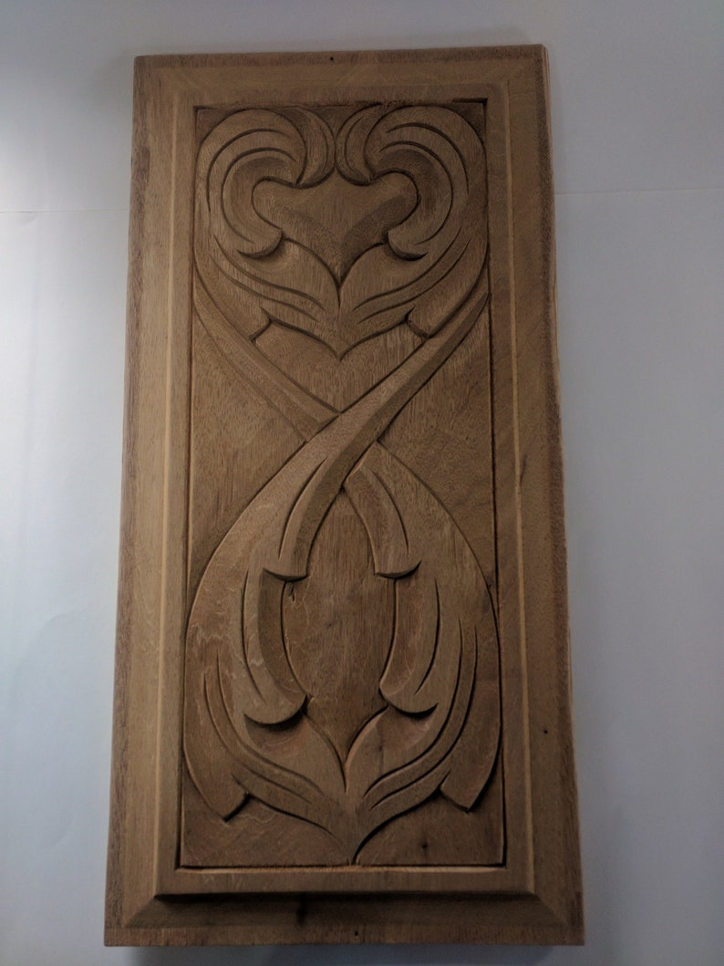 Vintage 1980's  Mahogany Carved Wood Door Panel image 0