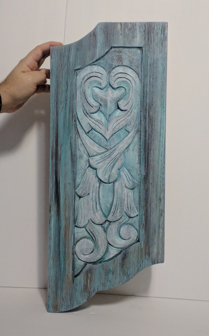 Vintage 1980's  Mahogany Carved Wood Door Panel That I Re image 0