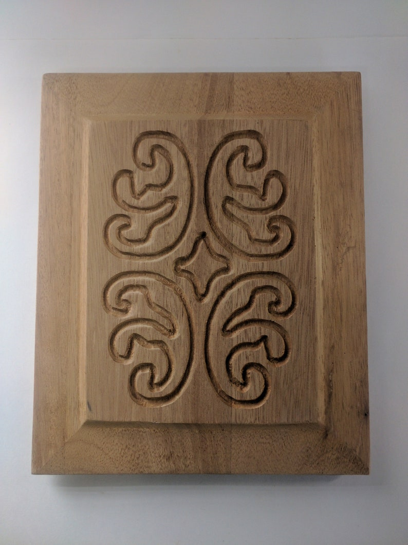 Vintage 1980's Small Swirled Mahogany Carved Wood Door image 0