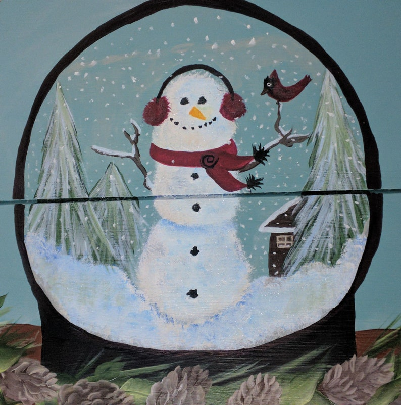 Snowman Snow Globe Hand Painted Re Purposed Wood Cheese Box image 0