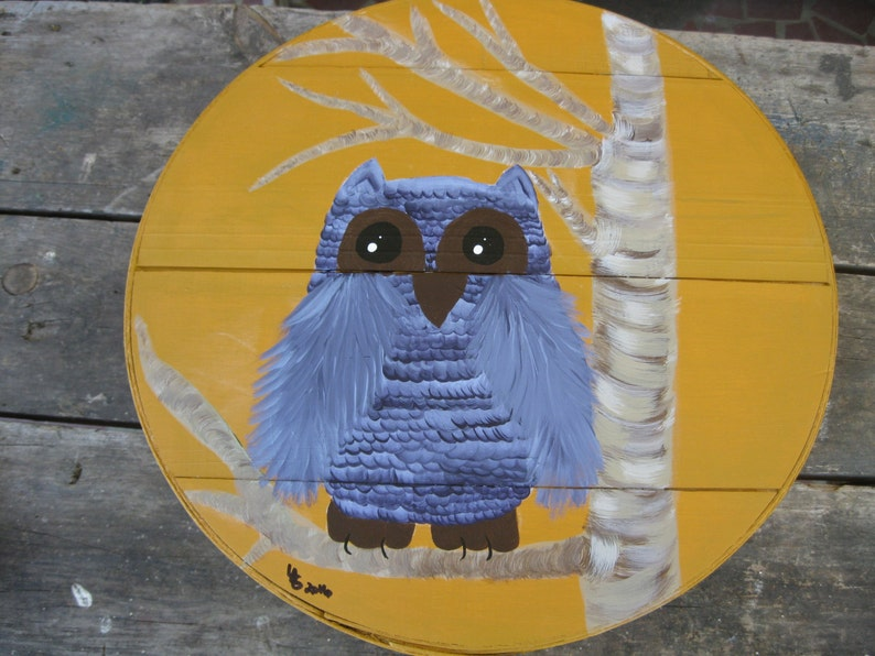 Beautiful Blue Owl  Hand Painted Re Purposed Wood Cheese Box. image 0