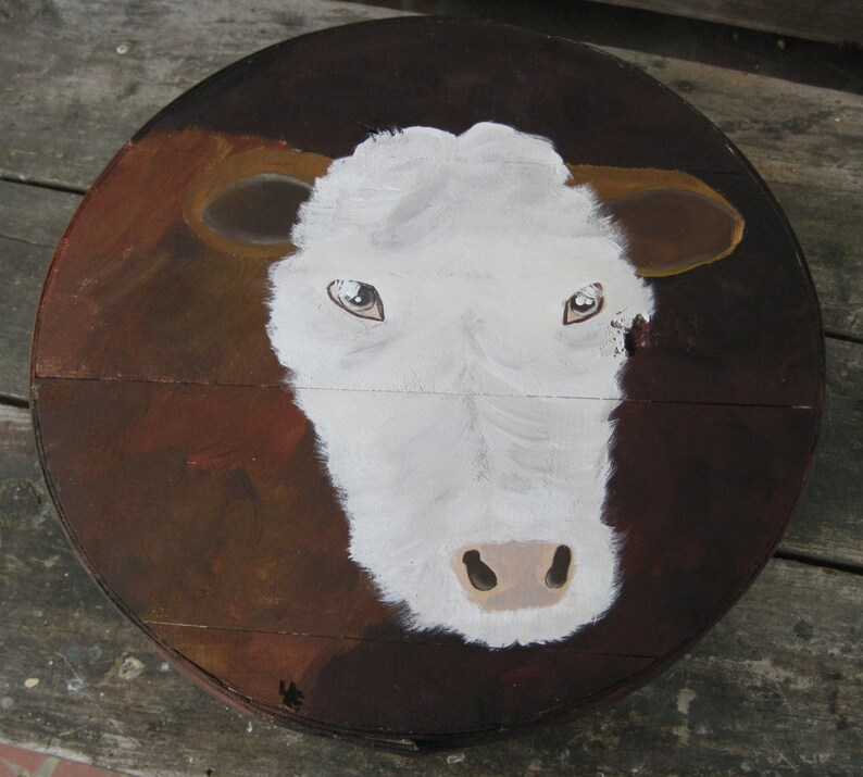 Clarice the Cow   Hand Painted Re Purposed Wood Cheese Box. image 0