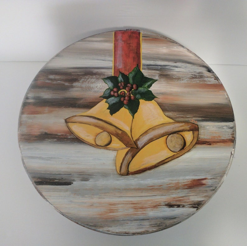 Christmas Bells Hand Painted Re Purposed Wood Cheese Box. image 0