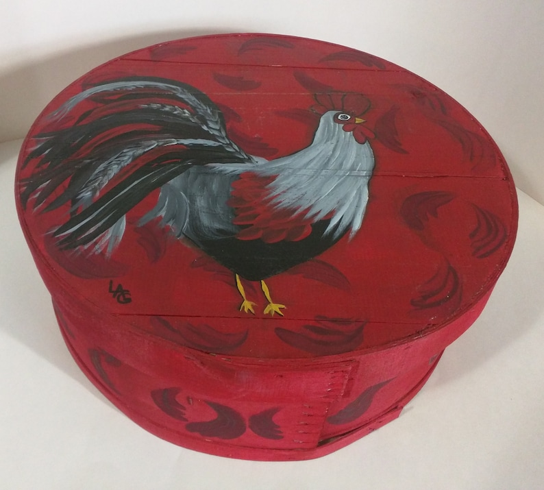 Small Rooster Hand Painted Re Purposed Wood Cheese Box. Uses: image 0