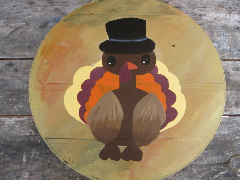 Thanksgiving Turkey  Hand Painted Re Purposed Wood Cheese image 0