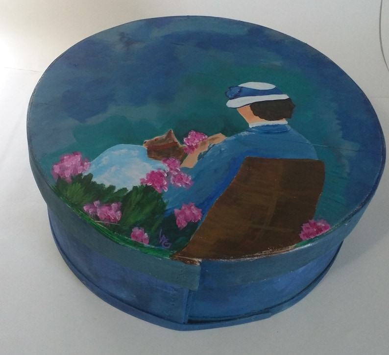 Lady In The Garden Hand Painted Re Purposed Wood Cheese Box . image 0