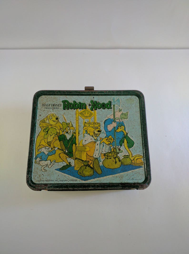 1974 Aladdin Metal Disney Robin Hood Lunchbox NO Thermos image 0