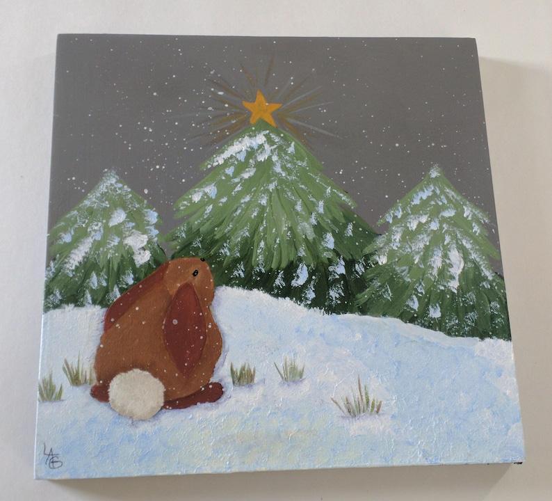 Christmas Bunny On Wood Canvas image 0