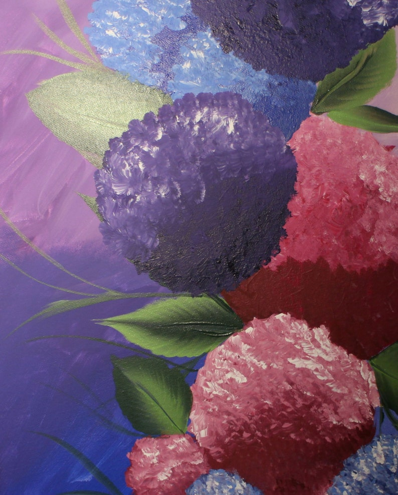 Whimsical Purple Blue And Berry Hydrangeas On Canvas Wall Art. image 0