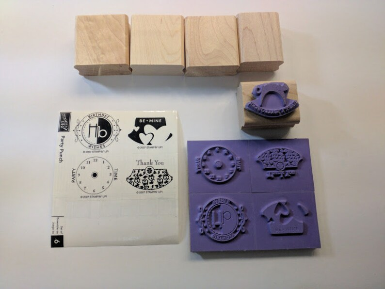 Stampin' Up Party Punch Unmounted Gently Used Stamp Set image 0