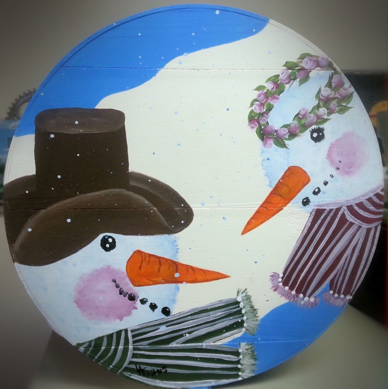 Snowman Couple   Hand Painted Re Purposed Wood Cheese Box. image 0