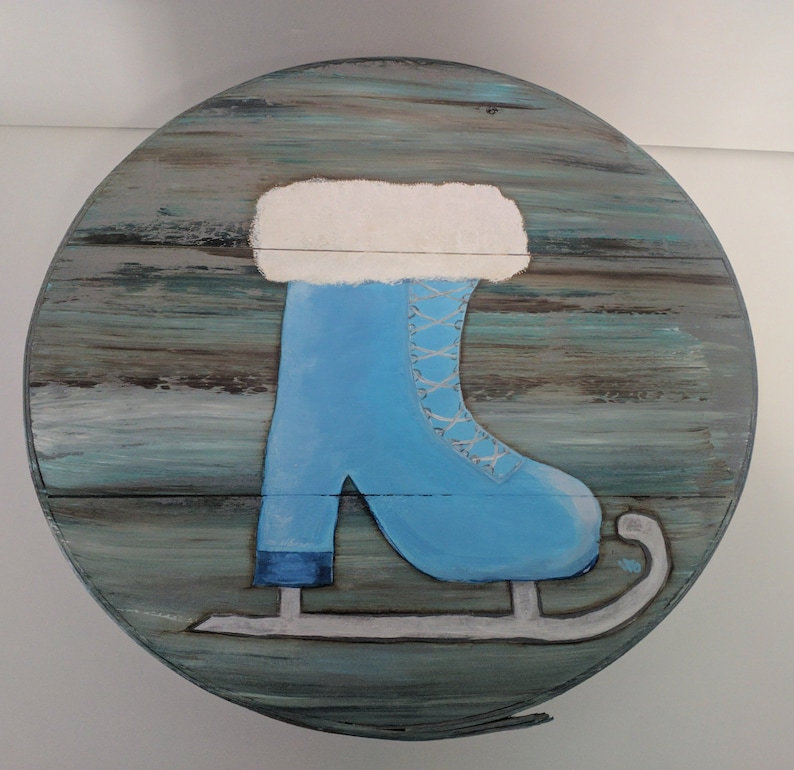 Ice Skate Hand Painted Re Purposed Wood Cheese Box. Uses: Gift image 0