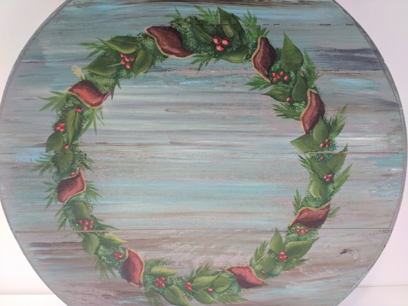 Christmas Wreath Hand Painted Re Purposed Wood Cheese Box. image 0