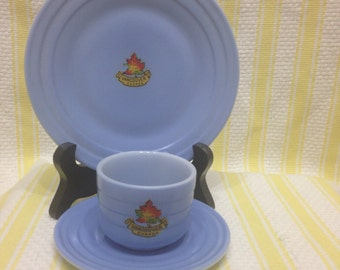 Vintage Hazel Atlas RARE Souvenir Cup Canada Saucer and Plate from Vancouver