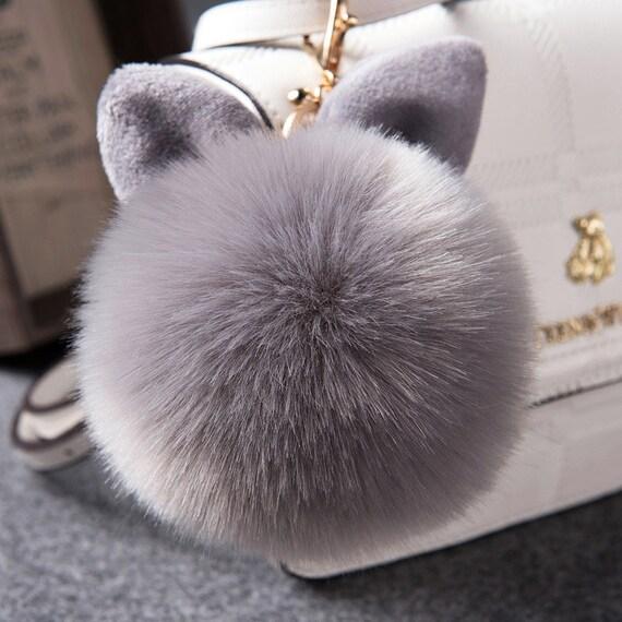 Funny Bunny Keychain  Pom Pom Charm  Fluffy Keychain  Bunny  cca7994086bf
