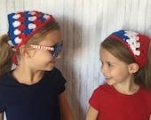 Bandana Crochet PATTERN - Patriotic Crochet Pattern - Red, White and Blue Crochet Pattern - Easy Crochet Pattern - Beginner Crochet Pattern