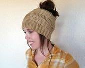 Messy Bun Beanie Crochet PATTERN - Crochet Beanie Pattern - Crochet Hat Pattern - Crochet Toque Pattern - Messy Bun Hat - Ponytail Beanie