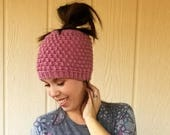 Pebble Messy Bun Beanie Crochet PATTERN