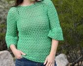 Crochet Top PATTERN - Crochet Shirt Pattern - Crochet Pullover Pattern - Easy Crochet Pattern - Spring Top Pattern