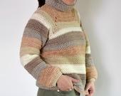 Crochet Sweater PATTERN - Crochet Pullover Sweater - Crochet Top - Top Pattern - Turtleneck Sweater Pattern - Caron Cake Pattern
